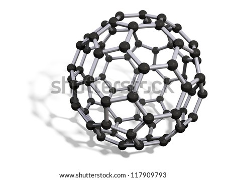 3d render of C80 carbon fullerene with soft shadow isolated on white