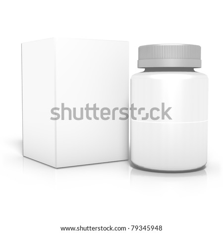 3d render of can with box, isolated on white background