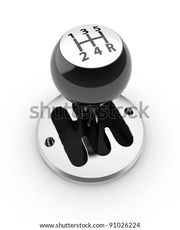 3d render of car shift gear on white background