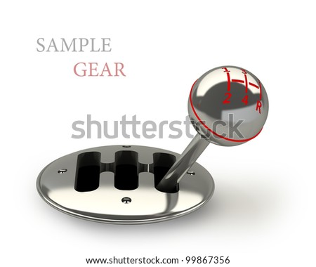 3d render of car shift gear on white background 3d High resolution.