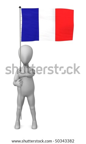 3d render of cartoon character holding flag