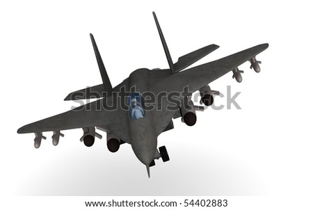 stock photo : 3d render of cartoon character in fighting plane