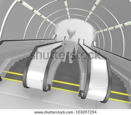 3d render of cartoon character on escalator - stock photo
