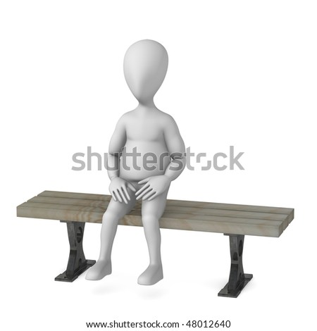 3d Render Of Cartoon Character Sitting On Bench Stock ...