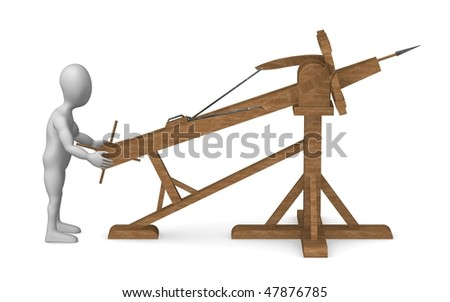 3d render of cartoon character with ballista