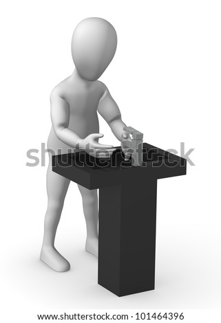 3d render of cartoon character with basin