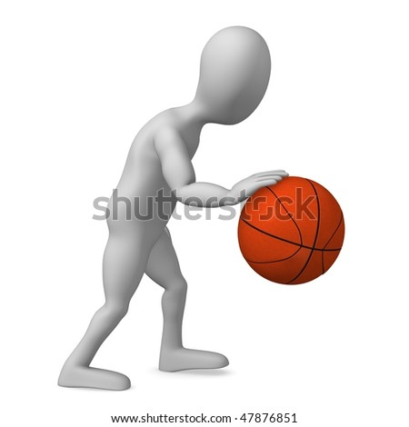 basketball ball cartoon. stock photo : 3d render of cartoon character with asketball ball
