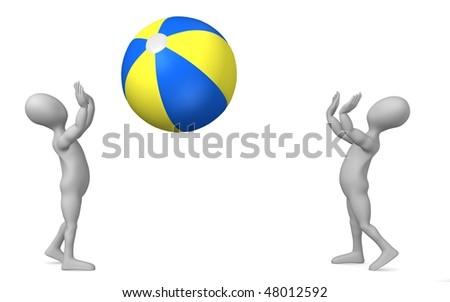 stock photo : 3d render of cartoon character with beach ball