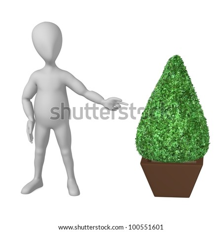 3d render of cartoon character with buxus