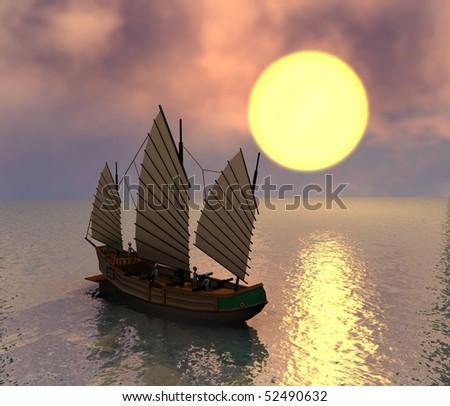 3d render of cartoon character with chinese pirate ship stock photo