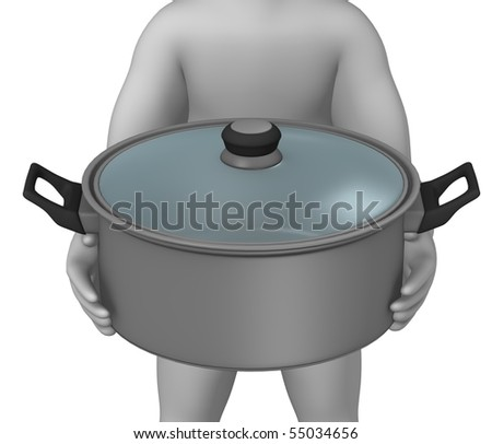 3d render of cartoon character with cooking pot