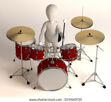 3d render of cartoon character with drumset