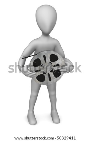 3d render of cartoon character with film reel