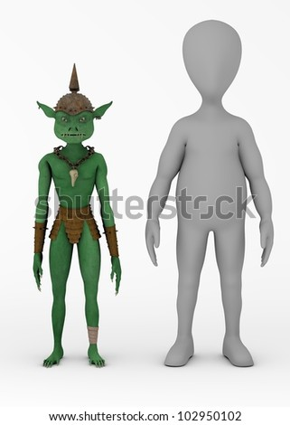 3d render of cartoon character with goblin