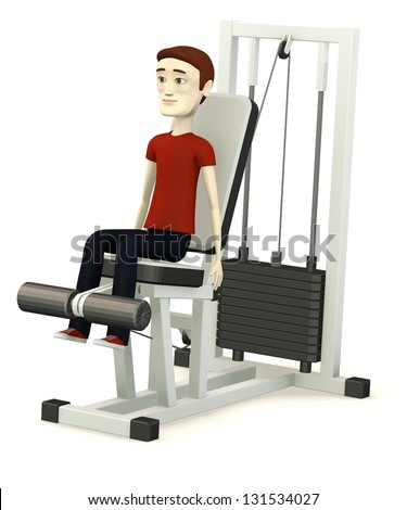 3d render of cartoon character with gym machine
