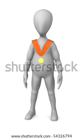 3d render of cartoon character with medal
