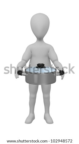 3d render of cartoon character with pot
