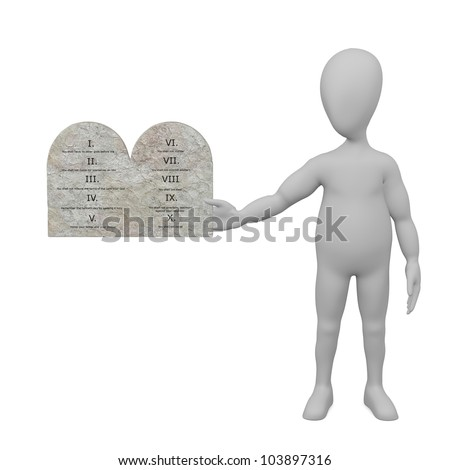 3d render of cartoon character with ten commandments
