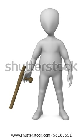 3d render of cartoon character with tonfa