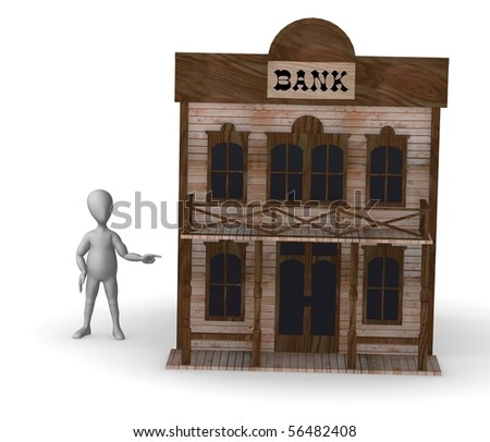 3d render of cartoon character with western house