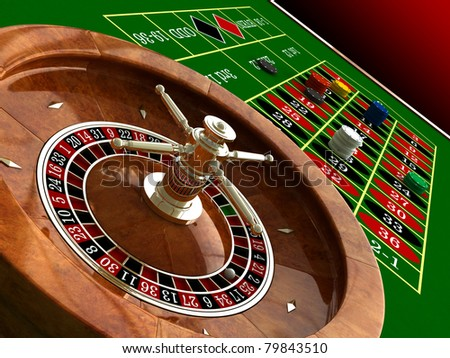 3d render of casino roulette and chips