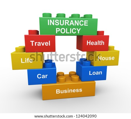 3d render of child toy blocks representing various type of insurance policy - stock photo