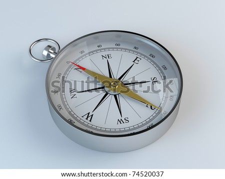 3d render of chrome compass on blue background