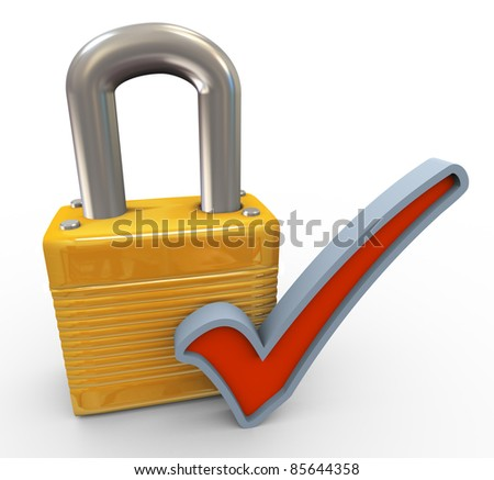 3d render of closed padlock and check mark