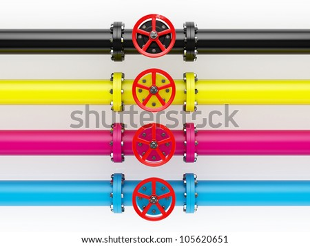 3d render of cmyk pipelines isolated on white background