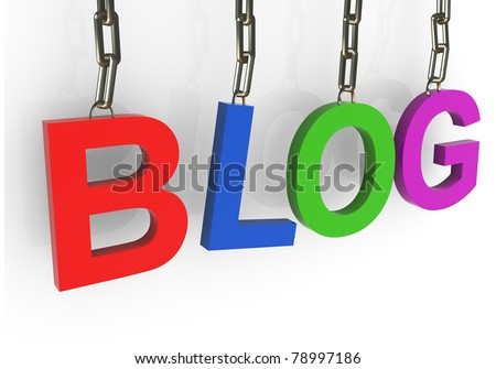3d render of colorful blog text hanged in chain