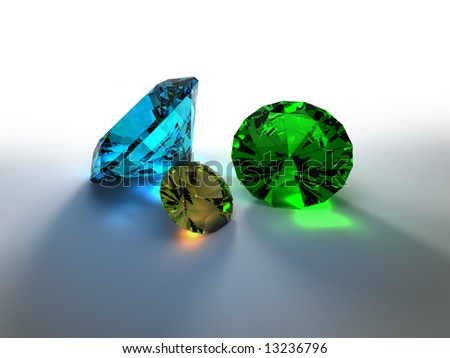 3D render of colorful precious stones