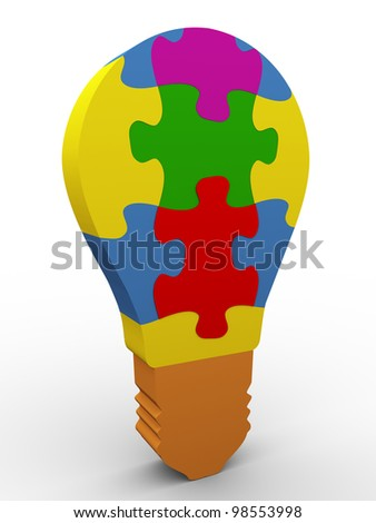 3d render of colorful puzzle bulb