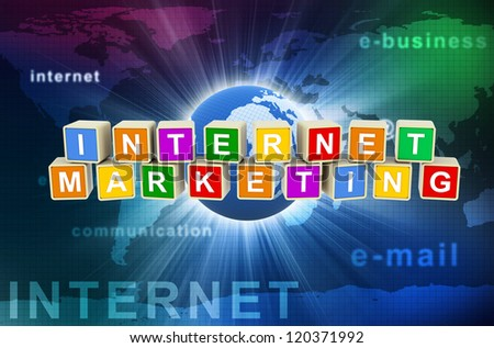 3d render of colorful text boxes internet marketing on hi-tech global communication background.