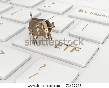 3d render of computer keyboard with ETF button. Stock market issue concept