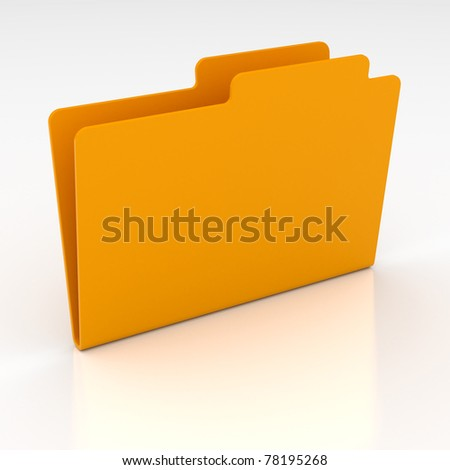 3d render of computer yellow folder on white background