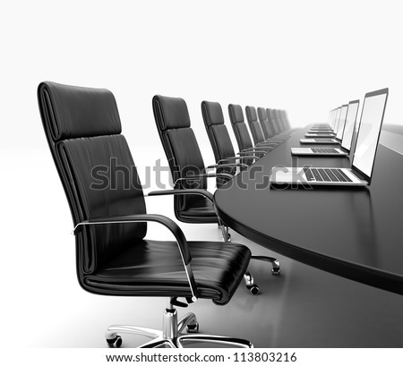 3D render of conference room with black table black leather chairs and laptops