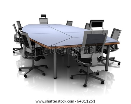 3D render of conference table and chairs isolated on a white background - stock photo