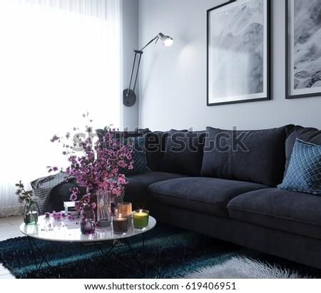 3d render of cozy blue interior living room
