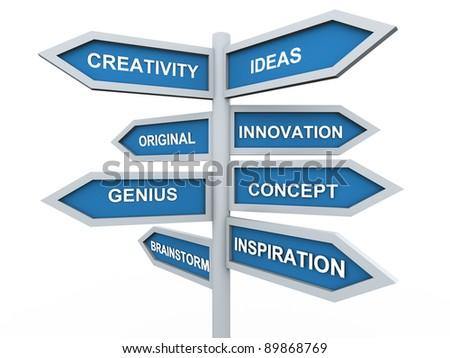 3d render of creativity signpost