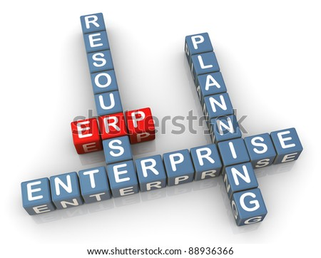 3d render of crossword erp (enterprise resource planning)