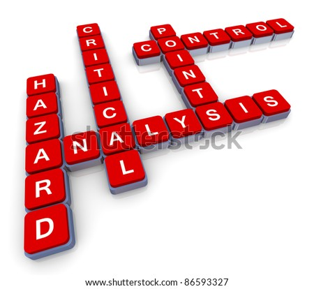 3d render of crossword haccp (hazard, analysis, critical, control, points)
