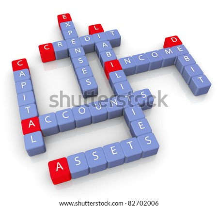 3d render of crossword of accounts concept