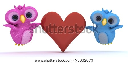 3D Render of cute bird characters holding a heart - stock photo