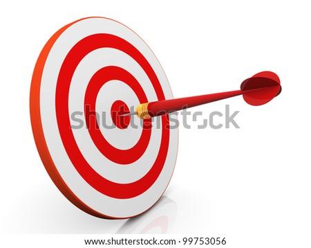 3d render of dart hitting target