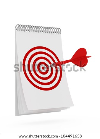 3d render of darts with target on the calendar
