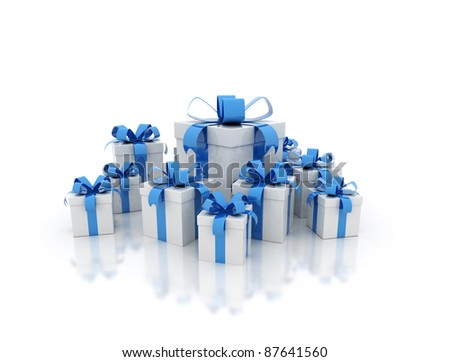 3D render of different sizes blue gift box