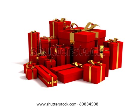 3D render of different sizes red gift box wrapped in golden ribbon