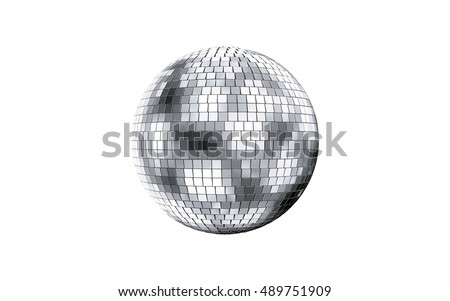 3d render of disco mirror ball isolated on white background