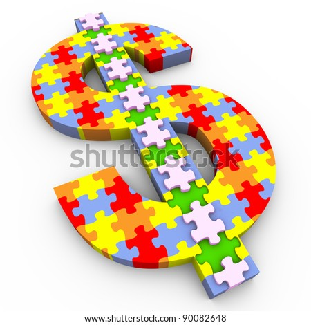 3d render of dollar sign made of puzzle pieces