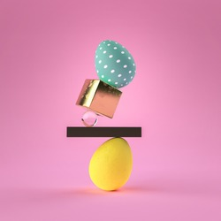 3D render of dyed Easter eggs with minimalistic objects and pink background. Contemporary style.